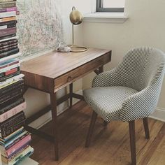I really love #westelm. New desk + chair + lamp!