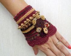 Crochet Bracelet Cuff Beaded Bracelet Cuff by SvetlanaCrochet