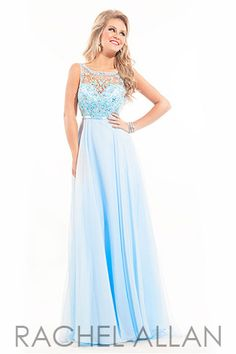 Chiffon gown that has a high neckline with sheer straps and open back.  Rachel Allan prom dress style 2862