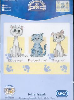 Três gatinhos amigos para bordar em ponto Cruz | Gráficos de Ponto Cruz