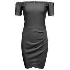 Dresslink - Dresslink Black Off Shoulder Short Sleeve Bodycon Cross Hem Solid Going Out Dress - AdoreWe.com