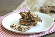 An easy to make English-style toffee, embellished with chocolate and nuts.  Delicious!  http://aredbinder.com/2018/01/english-toffee-with-chocolate-and-nuts.html