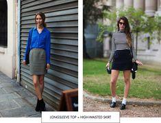 Longsleeve top + high-waisted skirt