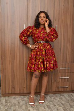 Ankara Dress/ Adjustable Sleeves/ African Dresses for Women/ African Print/ Made in Nigeria/ Quality fabric/ Women's Style Short African Dresses, Latest African Fashion Dresses, Short Gowns, African Print Dresses, African Print Fashion, African Prints, Ankara Fashion, Africa Fashion, African Blouses
