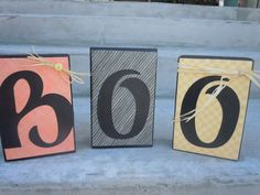 """Items similar to Wood Block Letters """"BOO"""" on Etsy Halloween Blocks, Halloween Letters, Block Lettering, Wood Blocks, Crafting, Craft Ideas, Unique Jewelry, Handmade Gifts, Cute"""