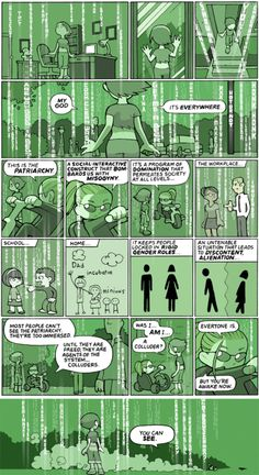 Most people can't see the patriarchy. They're too immersed. --- Matrix-inspired comic about patriarchy.. love it