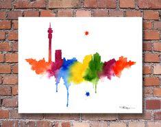 Johannesburg Skyline - Abstract Watercolor - South Africa Art Print - Wall Decor