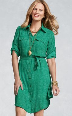 #CAbi Spring '13 Emerald Shirt Dress
