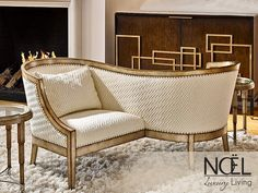 The Pisces Tete-a-Tete Chaise from Marge Carson. This holiday season entertain your imagination. Couch Placement, Furniture Placement, Large Furniture, Colorful Furniture, Corner Reading Nooks, Classic Sofa, Mid Century Modern Design, Luxury Living, Midcentury Modern