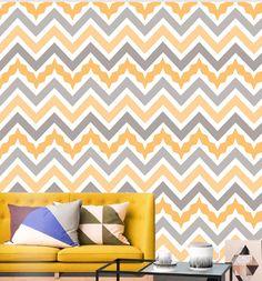 Papel de Parede   - Geométrico Amarelo Têxtil