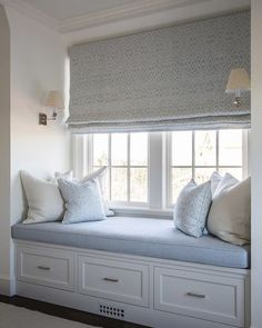 Sagaponack, NY Home with an elegant window seat to view the ocean. #hamptonsstyle #windowseats