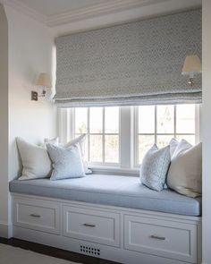 ideas bedroom window bench seat window bench seating for 2019 Bedroom Windows, Bay Windows, Window Seats Bedroom, Window Seat Curtains, Window Blinds, Window Coverings, Window Seat Cushions, French Door Coverings, Large Window Treatments