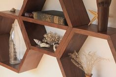 """Geometric Wood Shelf  Middle Shelf Hexagon  Set by HaaseHandcraft, $97.00  Each hexagon measures approximately 12"""" tall x 13"""" wide with a shelf space 6"""" wide x 5"""" deep."""
