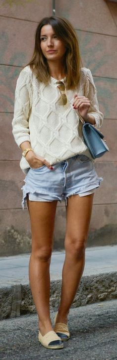 white sweater with cut off shorts