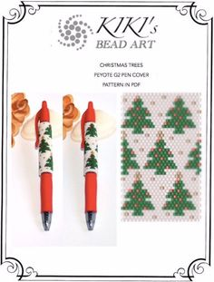 Pattern, peyote pen cover Christmas tree peyote pattern for pen wrap, holiday themed pattern for G2 pen by Pilot - PDF instant download