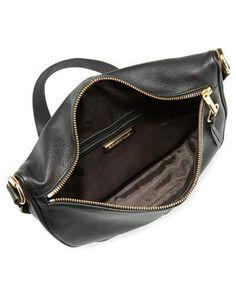V37ES Elizabeth and James Scott Leather Half-Moon Shoulder Bag, Black