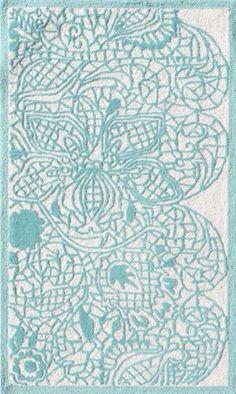 Aqua Turquoise Lacy Rug