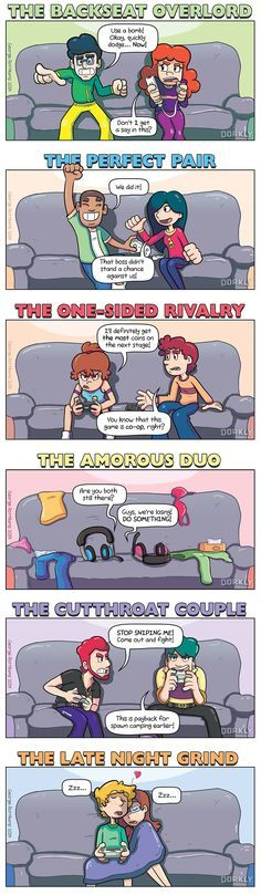 """The 6 Types of Gamer Couples"" #dorkly #geek #gamers"
