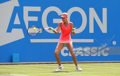 Kristina Mladenovic of France in action in her quarter finals match against Simona Halep of Romania on day five of the Aegon Classic at Edgbaston Priory Club on June 19, 2015 in Birmingham, England.