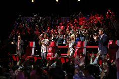 The Season 8 coaches! Adam Levine, Blake Shelton, Pharrell Williams, and Christina Aguilera