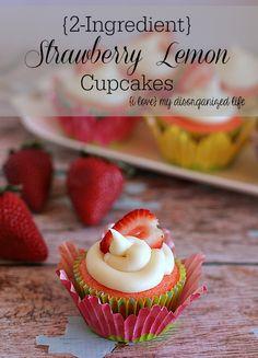 {2-Ingredient} Strawberry Lemon Cupcakes #easy #strawberry #cupcakes