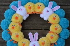 Easter Pom Pom Wreath with Bunnies and Chicks Bright Easter Craft Stick Crafts, Crafts To Sell, Diy Crafts, Easter Activities, Easter Crafts For Kids, Pumpkin Ornament, Pom Pom Wreath, Halloween Ornaments, Easter Wreaths