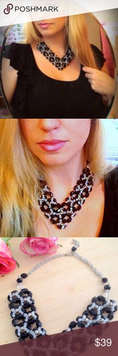 Black Necklace Materials: -Black glass beads -Swarovski Crystals Handmade Jewelry Necklaces