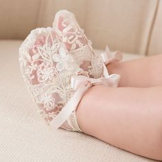 Baby Girl Lace Booties - Jessica Christening/Baptism Collection - Adorable Gowns & Booties #babyclothes