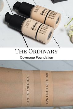 The Ordinary Coverage Foundation Swatches - 1.1N Fair Neutral & 1.2N Light Neutral