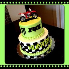 Fox and Monster dirt bike cake