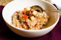 Sweet Millet Congee Recipe from Bob's Red Mill.  Ingredients: millet, water, sweet potato, ginger, cinnamon, brown sugar, apple (or pear), honey (or maple), and bacon.