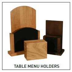 Table Menu Holders, wooden menu holders and stands