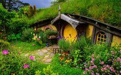 зелень, цветы, властелин колец, холм, шир, трава, нора, новая зеландия, дом
