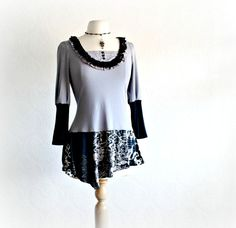 Upcycled Tunic Gray Women's Top Bohemian by BrokenGhostClothing, $55.00