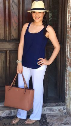 Summer | outfit | ideas | inspiration | fedora hat | navy tank | white linen pants | Tory burch miller 2 sandals | nude | gold | York buckle tote large luggage | mommy outfit