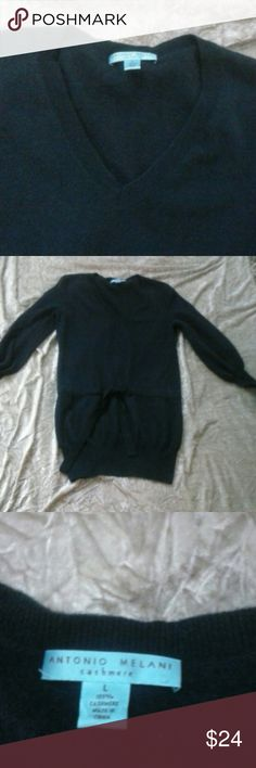💕100% Cashmere💕 Sweater Antonio Melani Large 100% Cashmere Long V-Neck Cashmere Sweater with draw waist with matching Cashmere belt.  Color Navy Blue. Size is large but I believe will also fit a medium nicely if you like it a little oversized. Pre-loved but in great condition. Bundle and save! ANTONIO MELANI Sweaters V-Necks