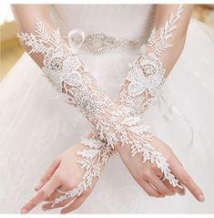In Stock 2015 Winter New Design Fingerless Lace Bridal Gloves Ivory Long Wedding Gloves Gants De Mariage Wedding Accessories Lace Bridal, Lace Wedding Dress, White Bridal, Wedding Wear, Wedding Dresses, Ivory Wedding, Wedding Jewelry, Elvish Wedding, Wiccan Wedding