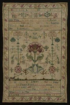 Colonial American Sampler made by Anne Wing, 1739 @ MFA Boston