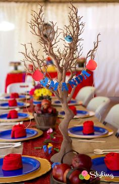 Snow White birthday party table! See more party planning ideas at CatchMyParty.com!
