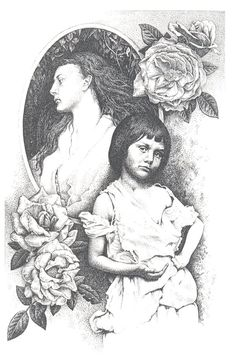 Alice with roses by maryanne42 (A drawing of the Real alice.The foregroud drawing is from the famouse photo by Dodgson of Alice liddell as a beggar girl. Behind is Alice a little older as photographed by Margaret Cameron, another of the great Victorian photographers)