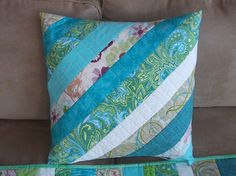 Blue and Green Quilted Pillow, Spring quilted pillow cover, handmade patchwork  pillow sham
