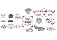 Vintage shop laurel design logo set vector