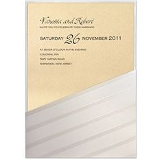 Storkie.com. Suave Stripe Pocket with Foil.��This elegant wedding invitation features a beautiful shimmer diagonal-striped pocket. Your custom text is foil stamped on your choice of insert card. Many different cardstock color options are available (including metallic and shimmer).��View this invitation from Storkie.com