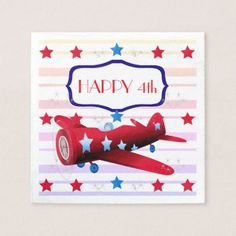 Vintage Airplane Airshow Aviator Stars Fireworks Paper Napkin - kitchen gifts diy ideas decor special unique individual customized