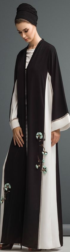 Mauzan abaya dubai...Black and White Stylish Abaya..