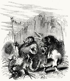 See what monsters, spectres, and hobgoblins advance to oppose us.    Tony Johannot, from Don Quixote de la Mancha vol. 3, by  Miguel de Cervantes, London, 1839.    (Source: archive.org)