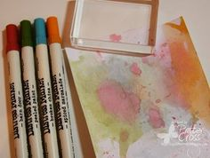 """scribbled the color onto my acrylic block, misted with water, and then """"colored"""" it onto my paper. To color onto the paper, I stamped and ru..."""