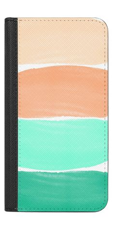 Casetify iPhone 7 Wallet Case - Coral and Aqua Watercolor Stripes by Jande Laulu #Casetify