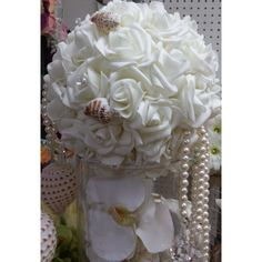 White Wedding Pomander, 5 Pomander Flower Balls, Flower Row marker, Aisle marker, Wedding Aisle Decoration, Kissing Ball, Wedding Chair Decoration, Flowers - Cake Toppers Boutique  - 1
