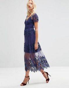ASOS Embroidered Mesh and Lace Midi Dress
